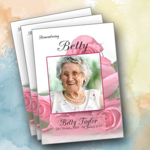 Template of service booklet with betty taylor picture with pink rose print