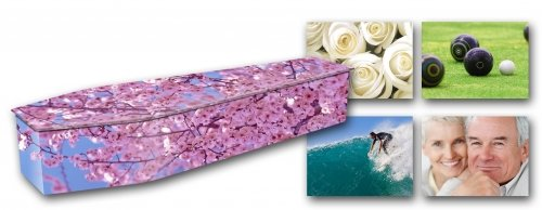 custom vinyl mdf wrapped coffin with cherry blossom design with 4 demo custom photo design in background