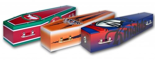 Eco-friendly Enviroboard three coffin made with heavy-duty cardboard and has four silver handles