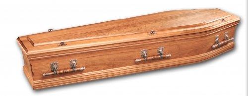 Lochinvar coffin with solid Tasmanian Blackwood and has bronze swing bar handles