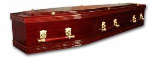 Coffin made with High-gloss Rosewood finish with decorative swing bar handled