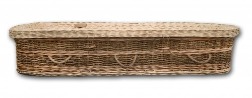 Eco-friendly Wicker Casket made with hand-woven willow and seagrass