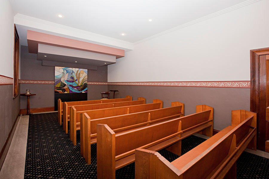 Inside view of Fry Bros Raymond Terrace Chapels seating area